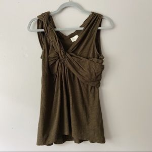 Anthropologie Deletta Dark Green Twist Tank Top M